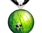Panda Necklace Bear Lime Green Bamboo Handmade Zen Jewelry Art Panda Pendant Asian Landscape Fantasy Boho Bohemian Gift for Her Black Ribbon