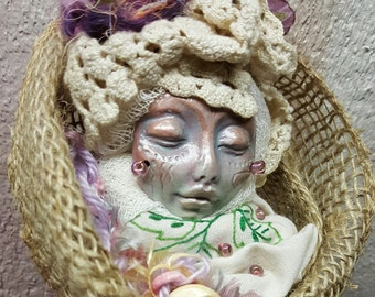 Flora, Spring Solstice Goddess, Cottage Kitchen Witch,  Assemblage Art doll Shabby Chic,  Decor OOAK