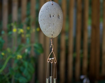 Wind Chime Beach Stone with Brass Chimes, west coast garden
