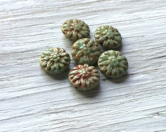 Flower beads - glass dahlia flower beads czech flower beads turquoise picasso - 14mm pack of 6