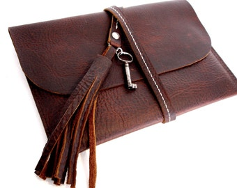 Mahogany Brown Leather Clutch Tablet Case With Tassel and Antique Key - Kindle Cover Sleeve
