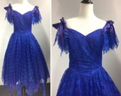 Vintage Royal Blue Lace Dress, Violet Purple Bows On/Off Shoulder, Sweetheart Neckline, Fit Flare, Handkerchief Hem, Crinoline, Formal Party