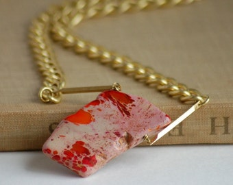 Red Orange Stone Necklace Statement Stone Slab Brushed Gold Toned Heavy Chain Solid Brass Links