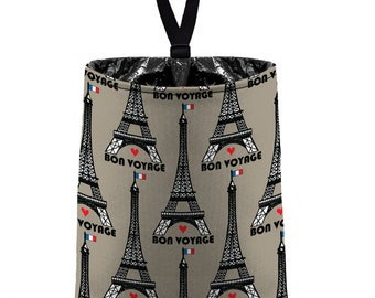 Car Trash Bag (Eiffel Tower Taupe) // Auto Trash Bag // Car Accessories // Car Litter Bag // Car Garbage Bag - Paris // Car Organizer Black