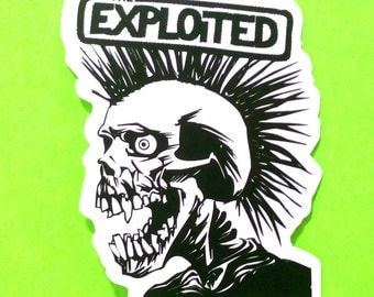 Exploited Skull Mohawk Band Punk Punx Records Black and White Waterproof Vinyl Sticker
