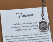 Patience Thistle Necklace - Scottish Wax Seal Jewelry - Bide Your Time Scottish Thistle Jewelry Purpose and Significance - 234