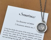 Sweetness Bee and Rose Wax Seal Necklace - Sweetness Attracts Me - 317