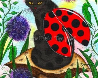Ladybug Fairy Cat Art Black Cat Painting Logan Ladybird Artwork Winged Cat Mushroom Whimsical Cat Art Print 8x10 Cat Lovers Art
