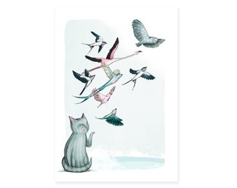 Cat Birds Card -  animals greetings card birthday cards - no wording cats flamingoes owl swallows