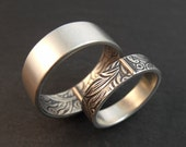 Wedding Band - Sterling Silver Opposites Attract Wedding Ring Set with 14k Rose Gold Tabs - Sunflower Pattern - Handmade in Seattle