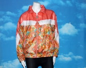 Wilson Abstract Floral Peach Jacket Size Medium Vintage 1990s