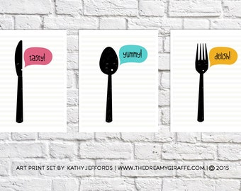 Kitchen Art Set Of Three Prints Black And White Fork Spoon And Knife Illustrations Kitchen Word Art Silverware Art Cute Pictures For Kitchen