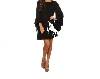 Womens Unicorn Dress Little Black Dresses Unicorns Print Women's Unicorn Clothing Sizes small - 3X Boho Tunic Off Shoulder Holiday Apparel