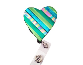 Green heart retractable ID badge holder