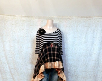 REVIVAL Women's Upcycled Boho Shirt, Shabby Chic Country Bohemian Junk Gypsy Style, Medium to Large, Recycled Repurposed EcoFriendly