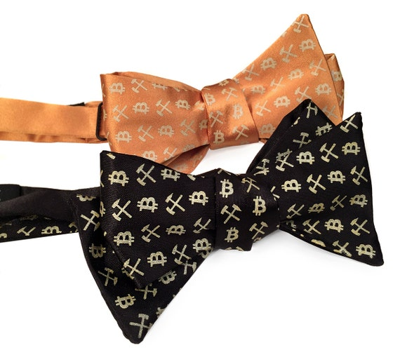 Bitcoin Bow Tie. Cryptocurrency men's bowtie. Bitcoin