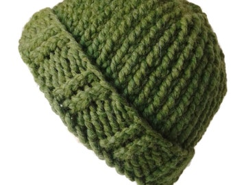 Grass Green Chunky Knit Hat Lime Slouch Toque Ski Hat Men Women Gift Unisex AIDAN - Ready to Ship Autumn Winter Accessories