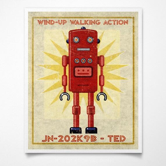 "Retro Robot Art Print- Ted Box Art Robot Decor 8"" x 10"" Science Fiction Art for Kids Rooms or Robot Nursery Decor- Land of Nod- Kid Bedroom"