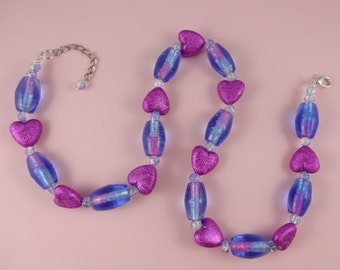Blue and Pink Heart Necklace - big beads, magenta hearts, glass lampwork beads, purple necklace, colourful statement, Valentine's Gift, fun!