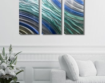 NEW! Beautiful Teal, Blue & Silver Modern Metal Wall Art - Original Handmade Abstract Painting - 3 Panel Set - Hydroelectric 3 by Jon Allen