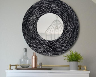 Black & Silver Abstract Metal Accent Mirror, Modern Metal Wall Art Decor, Contemporary Round Hanging Wall Mirror - Mirror 120 by Jon Allen