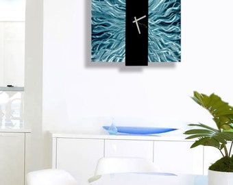 Blue & Black Contemporary Metal Wall Clock - Hanging Abstract Functional Art - Timepiece Modern Accent - Harmonious Mechanism by Jon Allen