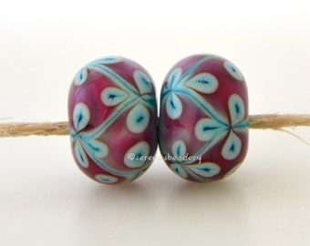 Lampwork Glass Flower Bead Pairs - COPPER Green and PINK Vine - taneres -  color options