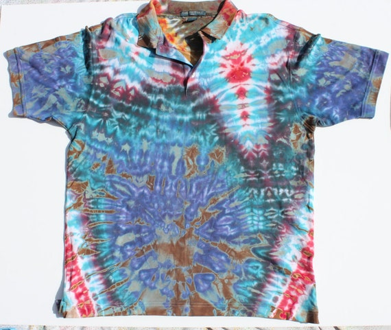 Blue red tie dye polo xl men 39 s collared shirt 4 for How to dye a shirt red