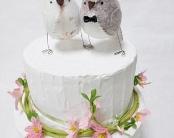 Wedding cake topper, country wedding lovebirds