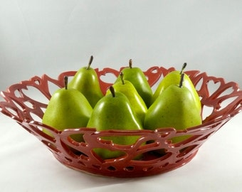 Large Ceramic Fruit Bowl with Hearts,  Artistic Ceramic Sculpture, Large Bowl in Red, Home Decor Limited Edition 387