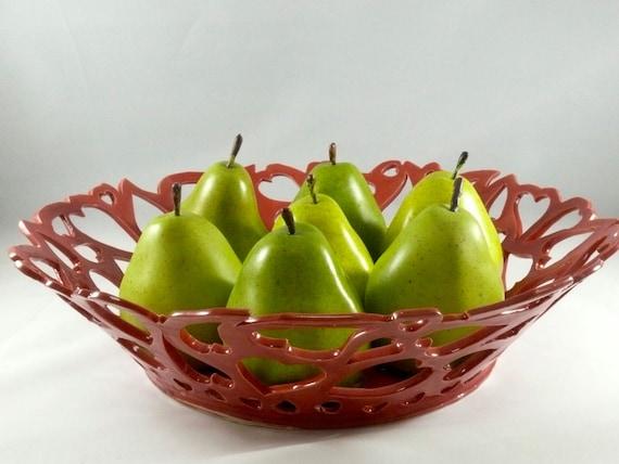 Large Red Fruit Bowl, Heart Bowl, Modern Art, Contemporary Art, Living Room Decor, Artistic Ceramic Sculpture, Wedding Couple Gift, Red Dish