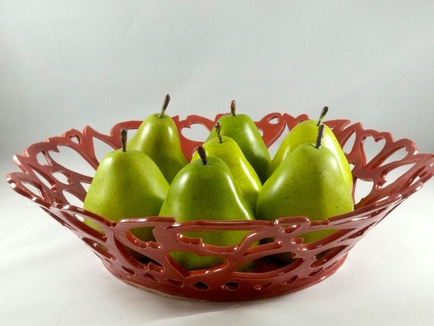Large Red Fruit Bowl Heart Bowl Modern Art Contemporary