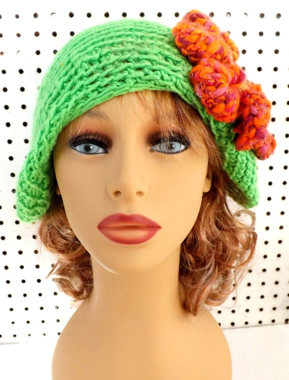 Lime Green Crochet Hat Womens Hat Trendy, Cloche Hat, Crochet Flower, Lime Green Hat, Green Crochet Hat, Ready To Ship, POINTY, Formal Hat