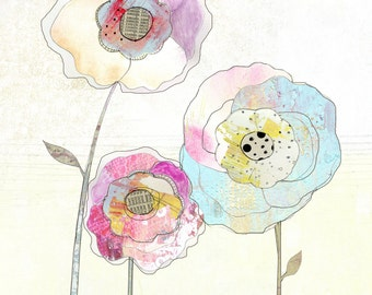 Flower Painting , Flower Art, Mixed Media Collage Print , Whimsical Art Print. Giclee Print , Flower Illustration