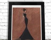 Fashion Illustration, Hollywood Glam Art Print, Woman Art Print, Elegant Art, Home Decor, Wall Hanging, Unique Gift Idea, Artwork SHANO