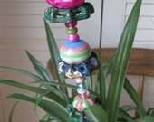 Large Beaded Vintage Valve Garden Knob Plant Stake in Pinks and Greens