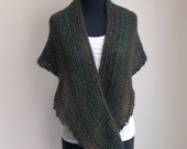SALE - Hand Knit Shoulder Shawl Scarf Cowl Wrap, Stylish Comfort Prayer Meditation, Forest Green Rust, Ready to Ship FREE SHIPPING
