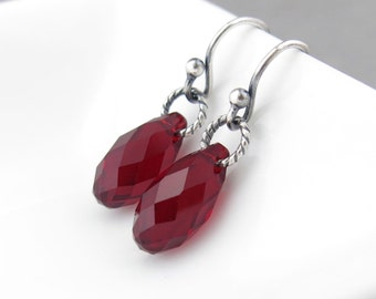 Silver Crystal Earrings Red Earrings Silver Drop Earrings Simple Jewelry January Birthstone Jewelry Birthday Gift for Her - Petite Drops