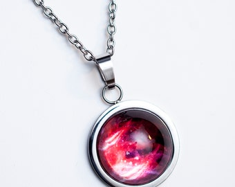Nebula no. 08 High Dome Stainless Steel Necklace, Space Jewelry, Space Necklace, Wearable Art, Nebula Necklace, Nebula Jewelry