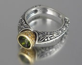 size 5.5 Ready to Ship THE CROWNED COUNTESS engagement ring  in silver and 14k gold with Green Tourmaline