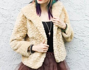Vintage 90s Faux Fur Jacket - Size Medium