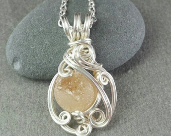 Druzy Agate Orb Silver Wire Wrapped Pendant