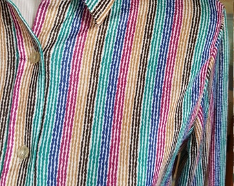 Vintage Jewel Tone Rainbow Stripes Blouse