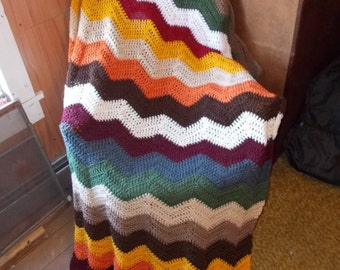 Crochet Ripple Afghan Blanket -Chevron-Ready to Ship-Large size/ Modern/Fall Colors/Chasing Chevrons-Mothers day