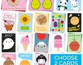 Pick Any TWO Kawaii Cards - Birthday, Greetings, Congratulations