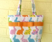 Easter Bunny Purse, Rainbow Bunny Purse for Spring, Rabbit Purse, Baby's First Purse, Easter Basket