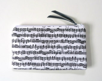 Zipper Pouch with Music Notes, Pencil Case, Cosmetic Case, choose your size, for Band kids and Music Lovers