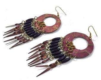 80s LONG Brass Patina Fringe Studio Artisan Earrings / Ethnic Avant Garde Primitive Aged Patina Dangle Earrings / Bohemian Gypsy Chandelier