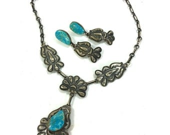 Navajo Necklace & Earrings Set / Vintage SIGNED Native American Repousse Sterling Silver and Turquoise Jewelry Set by Leroy James