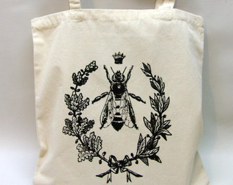 Queen Bee Canvas Tote Bag,  Hand Printed Market Tote, Book Bag, Hostess Gift, Teachers Gift